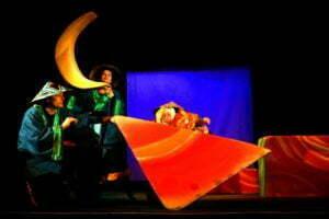 Zdjęcie ze spektaklu Zaczarowane wycinanki. Na dużym, pomarańczowym, trójkątnym kształcie leży oparta lalka w trójkątnym kapeluszu. Po lewej stronie kuca aktor również w trójkątnym kapeluszu i w kimonie, a za nim tak samo ubrana aktorka trzyma duży, żółty księżyc w kształcie rogalika.